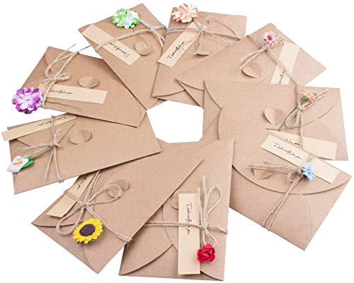 10 PCS Flores Secadas Postal Decorada Papel Kraft Retro Hecho a Mano, Sobres en Blanco Felicitación Papel para Navidad、 Boda、 Persona Especial y Ocasión Importante