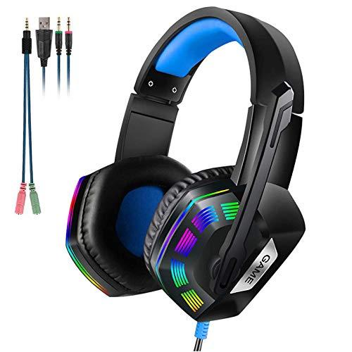 Lolo Audífonos Gamer con Microfono Cascos Gamer para Xbox One Ps4 PC Computadora Mac Headsets Gaming Auriculares LED Luz Cancelación...