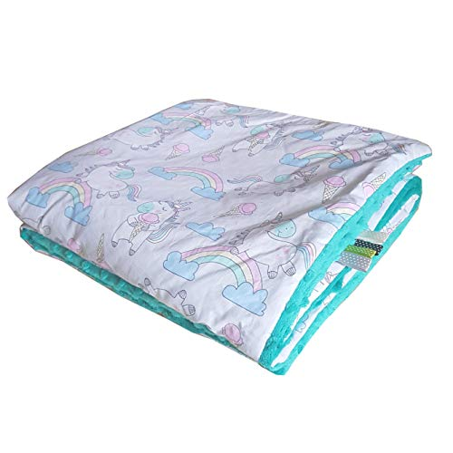 Unicornio EIS azul oscuro, 75 x 100 cm, manta de bebé Minky, manta supersuave y esponjosa, hecha a mano