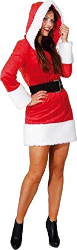 Amakando Disfraz de mujer de Navidad con capucha sexy vestido de Navidad S 36 Navidad Pap Noel vestido de mujer