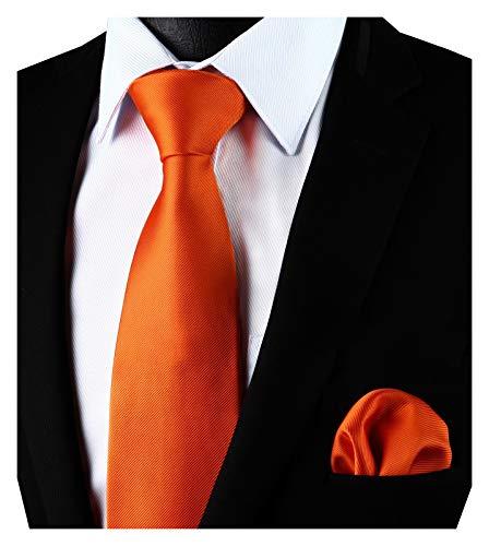 Enlision Einfarbiges Krawatten und Einstecktuch Set in Orange fur Herren