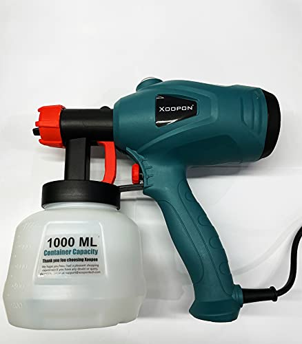 Xoopon Paint Sprayer, Spray Gun with 3 Spray Patterns and 5 Additional Copper Nozzles, Easy to Use
