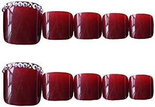 24pcs French Fake Toenails for Women Toes Square Acrylic False Toenails Full Cover Wine Red Feet Nails Stick On Toenails