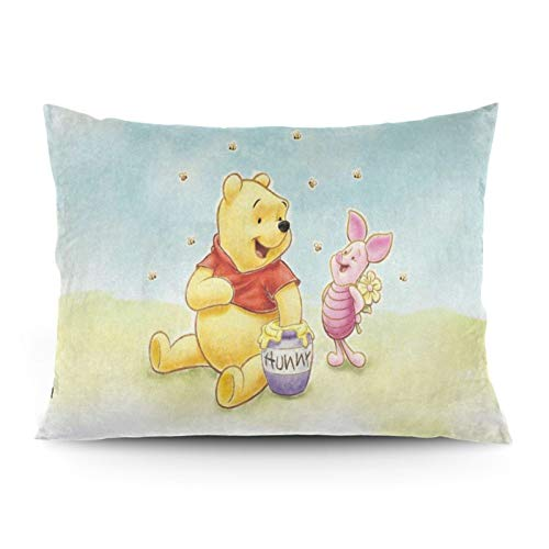 Omigge Cute Cartoons Square Throw Pillow Case, Soft Velvet Cushion Cover With Hidden Zippe For Couch Sofa Home Bed Decoration,Disney Winnie Pooh And Pigle Honey Bee
