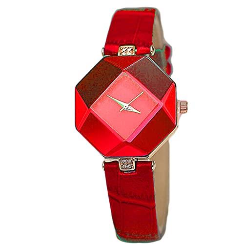 Shmtfa Relojes Moda para Mujer Reloj Pulsera PrismáTico Cuarzo AnalóGico Pulsera con CronóGrafo con Correa PU Dial No Impermeable para DecoracióN MuñEca NiñA(Rojo)