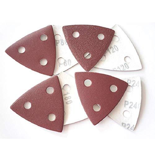 YJRIC papel de lija 25 piezas 80 * 80 MM papel de lija triangular almohadillas de lijado hojas disco de lijado gancho bucle 80-240 granos flocados para amolar herramientas abrasivas, 180