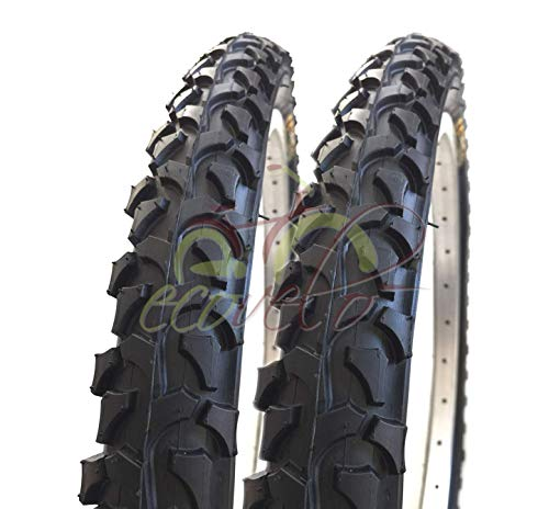 Ecovelò 2 COPERTONI (54-507) 24 x 1.95 | Pneumatici Neri MTB Bici Bicicletta Mountain Bike Adulto Ragazzo