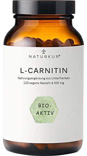 Naturkur® L-Carnitin L-Tartrat 500 mg - 120 vegane Kapseln im Apothekerglas für 4 Monate - Laborgeprüft nach DIN EN ISO 17025, ohne Zusatzstoffe, hergestellt in Unterfranken