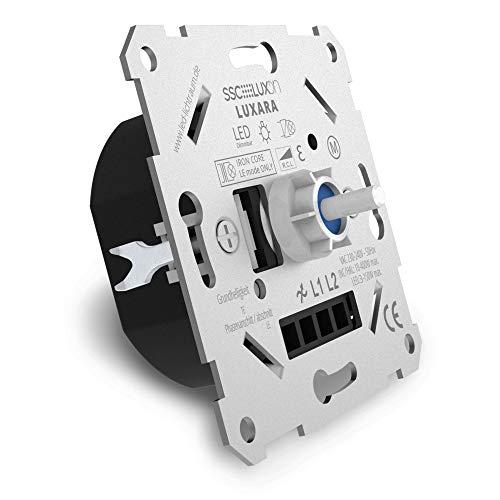 SSC-LUXon LUXARA Universal Drehdimmer Unterputz Dimmschalter für dimmbare LEDs 3-150W - Unterputzdosen Dimmer inklusive Adapter
