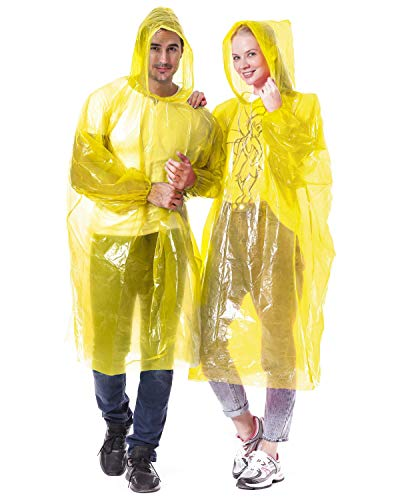 Alfachy Pack of 5 Very Thick & Disposable Rain Poncho for Adults Emergency Waterproof Poncho, Ideal for Festivals, Sightseeing, Camping, Theme Parks and Everyday Commute Yellow