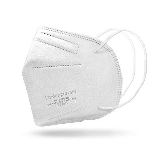 Lindenpartner FFP2 Atemschutzmaske 25er Set | Deutscher Hersteller, Mundschutz geprüft und zertifiziert | CE Prüfziffer 2841, weiß, einheitsgröße