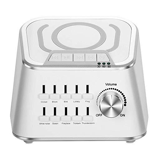Dubao ruismachine, wit, slaapmachine met draadloos opladen en bluetooth-audiofunctie, kan 10 soorten natuurlijke rustgevende geluiden mengen.