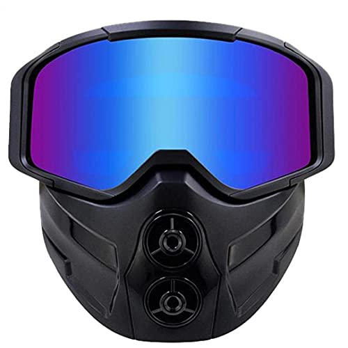 Tuimiyisou Motocicleta Montar en la Cara Cubierta Gafas A Prueba de Viento Setachable Protective Face Shield Colorido