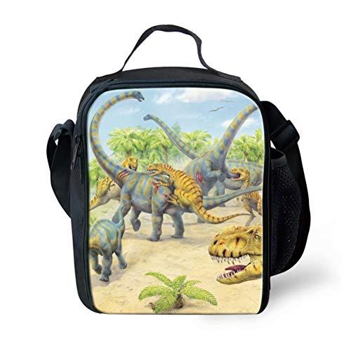 POLERO Kühltasche klein Lunchtasche Thermotasche Isoliertasche Picknicktasche für Lebensmitteltransport Minikühltasche isolierte Snacktasche Tanystropheus Tyrannosaurus Rex Dinosaurier