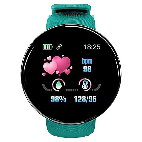 Reloj inteligente de seguimiento de fitness, monitor de ritmo cardíaco, IP65, resistente al agua, con seguimiento de sueño, con calorías de pasos, compatible con teléfonos Android y iPhone