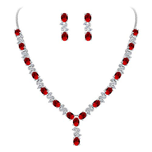 EleQueen Women's Silver-Tone Cubic Zirconia Oval Shape Leaf Necklace Earrings Set for Brides and Weddings Ruby Color