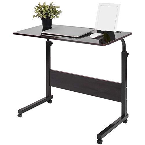 Greensen Laptop Schreibtisch, Beistelltisch Tragbarer Laptop-Tisch Klappbar Konferenztisch Schlafsofa Rolltisch mit 4 Rollen, Büro Arbeitstisch HöHenverstellbar Computer-Schreibtisch(Schwarze Walnuss)