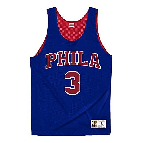 Mitchell & Ness Camiseta de tirantes reversible Philadelphia 76ers Allen Iverson, Hombre, azul cobalto, large