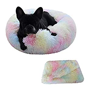 Patas Lague 2-Piece Donut Calming Dog Bed Set (1 Bed, 1 Blanket), Faux Fur Plush Cat Pet Bed, Comfortable and Washable, (30 inches, Rainbow)