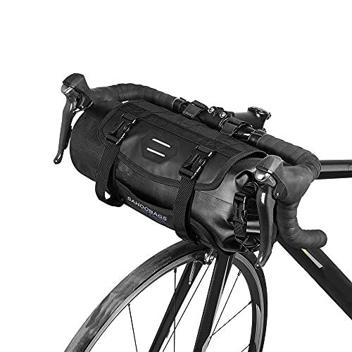 Lixa-da Bicicleta Bolso Impermeable Ciclismo Mountain Road MTB Bicicleta Delantero Marco Manillar Maleta Seca con Cierre (Negro)