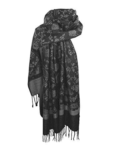 Nella-Mode Nella-Mode Edler & Eleganter Schal, Stola; - Florales & Paisley-Muster; Anthrazit/Silber