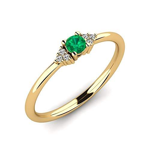 Anello di fidanzamento Donald con Smeraldo AAA DA 0,10 crt e diamanti VS DA 0.03 CT realizzato in oro giallo 585 - Anello premium come regalo per le donne - Anello fatto a mano come proposta