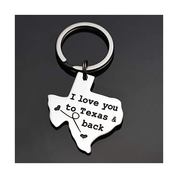 LParkin Texas Keychain Long Distance Relationships Gifts I Love You to Texas and Back Keychain Boyfriend Girlfriend Long Distance Relationship Gift Going Away Gifts Friendship