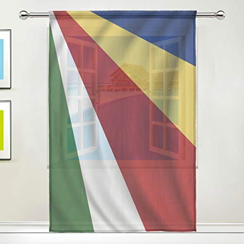 All3DPrint - Cortinas de gasa transparente con diseño de la bandera de Seychelles para ventana, puerta o ventana, para sala de estar, dormitorio, oficina, decoración del hogar, 55 x 78 pulgadas, poliéster, Blanco, 55x78x1(in)