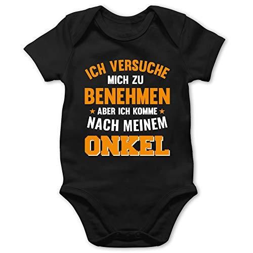 Sprüche Baby - Ich versuche Mich zu benehmen Aber ich komme nach Meinem Onkel orange - 1/3 Monate - Schwarz - Strampler Junge sprüche Onkel - BZ10 - Baby Body Kurzarm für Jungen und Mädchen