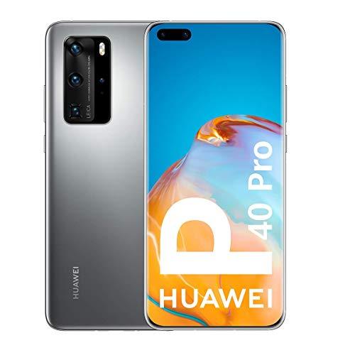 Huawei P40 Pro 5G - Smartphone de 6,58' OLED (8GB RAM + 256GB ROM, Cámaras Leica (50+40+12+TOF), zoom 50x, Kirin 990 5G, 4200 mAh, EMUI 10 HMS) Plata + altavoz CM51 [Versión ES/PT]