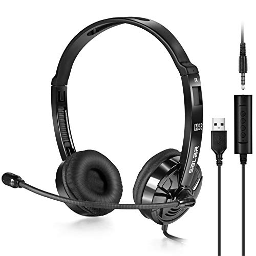 KINGTOP 3.5mm Computer Headset USB Headset PC Headset mit Mikrofon Telefon Headset für Laptop Smartphone Skype Webinar Online-Konferenz Call-Center