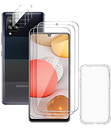 Skyjust [3 Pack] Protector de Pantalla para Samsung Galaxy A42 5G + [3 Pack] Protector de lente de cámara, Sin Burbujas, Dureza 9H, Alta Definicion Vidrio Templado, mit Transparente Funda