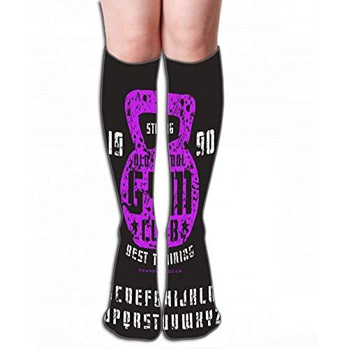 Zome Lag mannen vrouwen outdoor sport hoge sokken kous sjabloon plaat Sanserif lettertype handgemaakt Gym Club embleem kleur druk zwarte achtergrond tegellengte 50cm