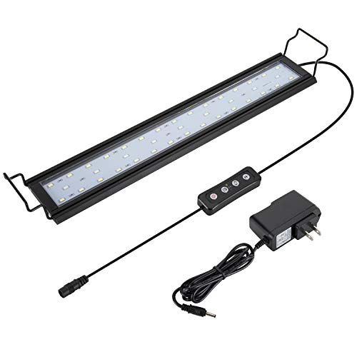 Hygger 14W Full Spectrum Aquarium Light with Aluminum Alloy Shell Extendable Brackets, White Blue Red LEDs, External Controller, for Freshwater Fish Tank (18-24 inch)