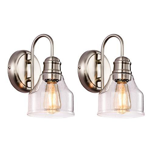 SOZOMO Vanity Lighting - Lámpara de pared con sombra de cristal de burbujas, moderna lámpara vintage para baño con material de acero para maquillaje sobre espejo,iluminación de estudio (1 luz)