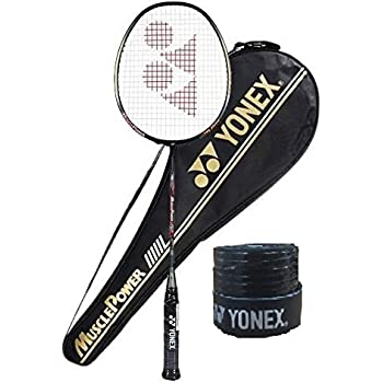 Yonex Muscle Power 55 Badminton Racquet with Cover (Light Grey, Graphite, G4-80g, 30 lbs Tension)& Full Cover with 1Grip