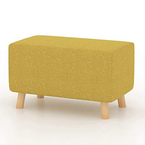 LIXIONG Tabouret Pouf Ménage Bois Massif Couleur Unie Coton Et Lin Salon Tabouret De Canapé Portant 100 Kg, 4 Couleurs (Couleur : Le jaune, taille : 56x32x28cm)
