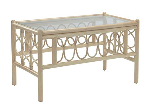 Desser Morley Coffee Table with Toughened Glass Top – Sturdy Natural Cane Pole Frame Rattan Indoor Conservatory or Living Room Furniture - H49cm x W79cm x D48cm