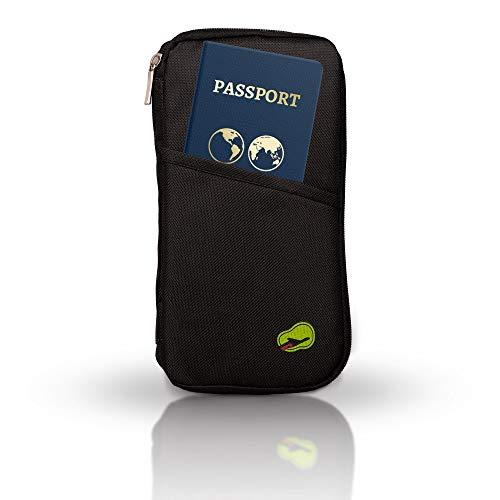 ECENCE Custodia per passaporto Portadocumenti da Viaggio per Tutta la Famiglia Organizer da Viaggio Custodia passapor borsellino da Viaggio Piccolo Moderno Nero 21010201