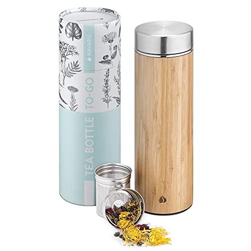 Navaris Botella con Filtro para té - Termo de 500 ML para Hacer infusiones y tés - Tetera con infusor extraíble para Transportar Bebidas Calientes