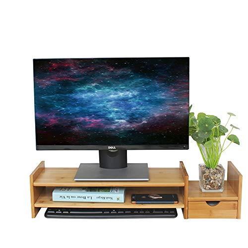 DlandHome Bambus Monitorständer 70 * 18.5 * 6.5cm Erhöhung Notebookständer Bildschirmständer mit Stauraum Desktop Organizer