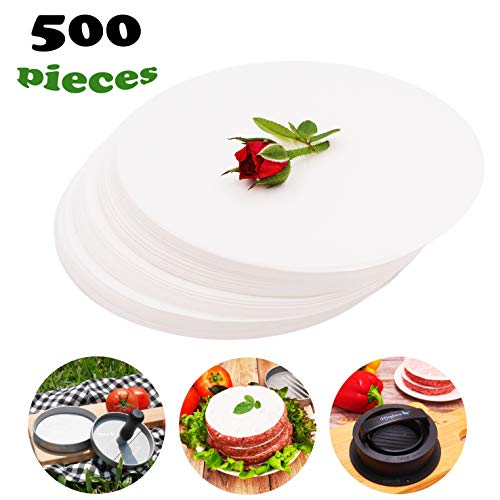 Meykers Patty Paper Sheets for 4/4.5 Inch Burger Press - 500 pcs Round Hamburger Maker Non-Stick Heat Resistant Circle Wax Parchment Paper liege waffle keto chaffle Cookie Cake Bake