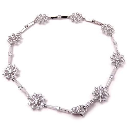 Gioielli Aurum - Pulsera copo de nieve para mujer, pulsera de plata 925 con circonitas.