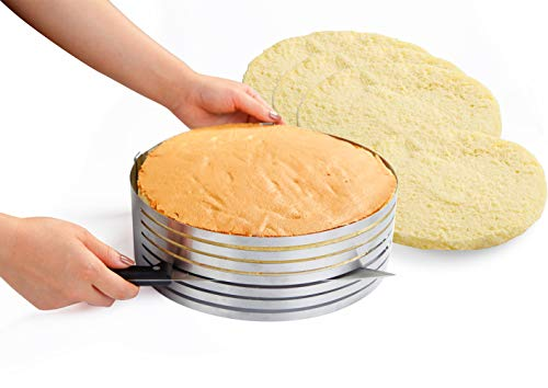 Somine Molde Laminar Tartas de 7 Capas para Cortar los Pasteles - Anillo de Acero Inoxidable con Diámetro Ajustable de 23 cm a 30 cm (9 \'\' a 12 \'\')