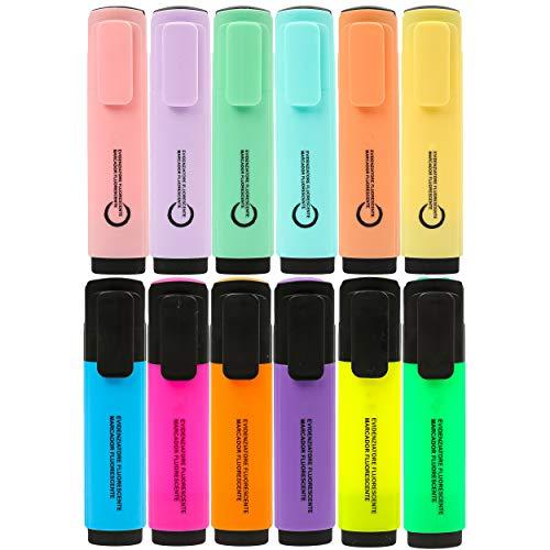 12 Subrayadores Color Pastel y Fluorescentes Marcadores Pastel y Fluorescentes Multicolor Punta Biselada