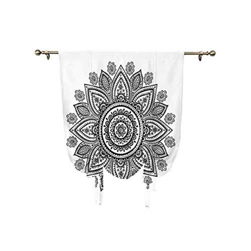 Cortina opaca de henna para ventana, patrón en estilo garabato con elementos geométricos, círculos y líneas, con aislamiento térmico, 95 x 150 cm, para dormitorio de niños, color blanco y negro