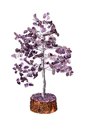 Opulent Crystals - Amethyst Crystal Silver Wire Tree - Natural Gemstone Bonsai Money Tree for Good Luck, Wealth Health & Prosperity Spiritual Gift Energy Feng Shui Home Table Decor Size 10 Inch