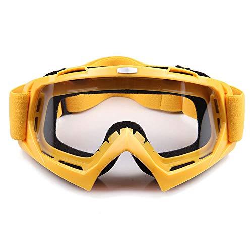 HCCX Outdoor Motocross Goggles - UV Schutz - Winddicht - Staubdicht - Anti-Beschlag - Sand - Fleece - Verstellbares Gummiband Offroad Goggles, gelbe Rahmen Linse