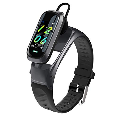TAOYATAO Reloj inteligente impermeable con monitor de frecuencia cardíaca, monitor de actividad con contador de pasos, contador de calorías, podómetro (B9 negro)