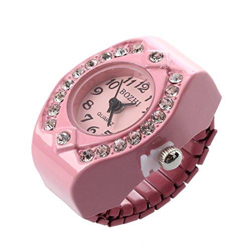 Taschen-Finger-Ring-Uhr - SODIAL(R) Frauen Rosa Legierung Quarz Taschen-Finger-Ring-Uhr Strass runder Zifferblatt